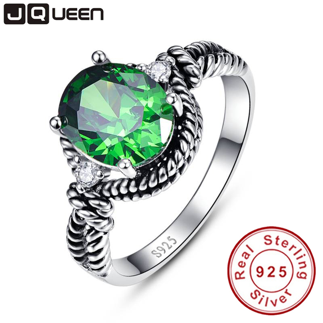 Vintage Love Green Live 4.05g Emerald Green Rings Twist Decoration Wedding Rings 925 Sterling Silver For Women Size 6 7 8 9
