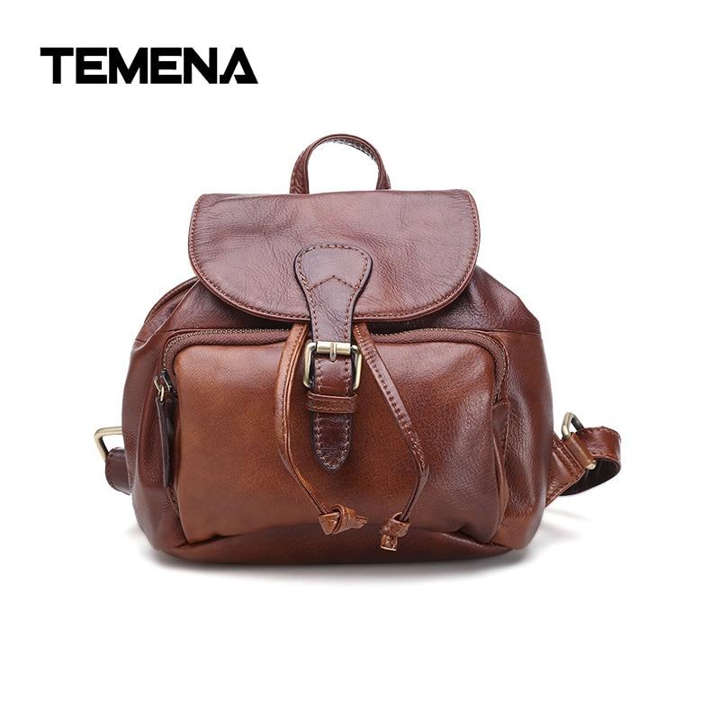 Temena Vintage Original Genuine Leather Back Bag Genuine Cowhide Skin Leather Mens Bag Leather Backpacks Travel BackpackABP379