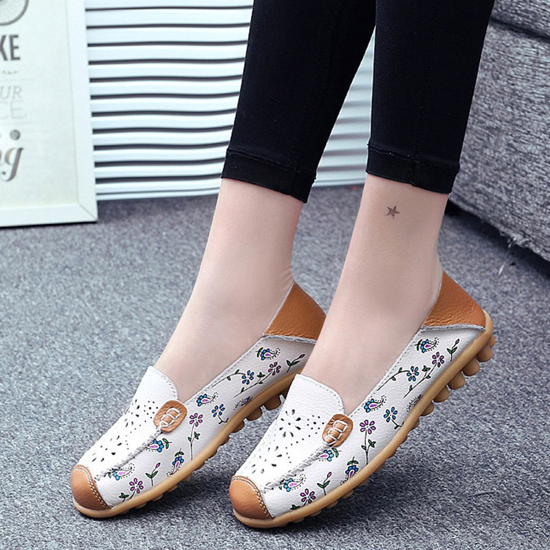 Spring Loafers Women Casual Shoes Moccasins Soft Leather Flower Printed Ladie Shoes Footwear Summer Female Women Flats DC39 2018 leather shoes women spring summer simple nude color female flats soft sole breathable footwear free shipping