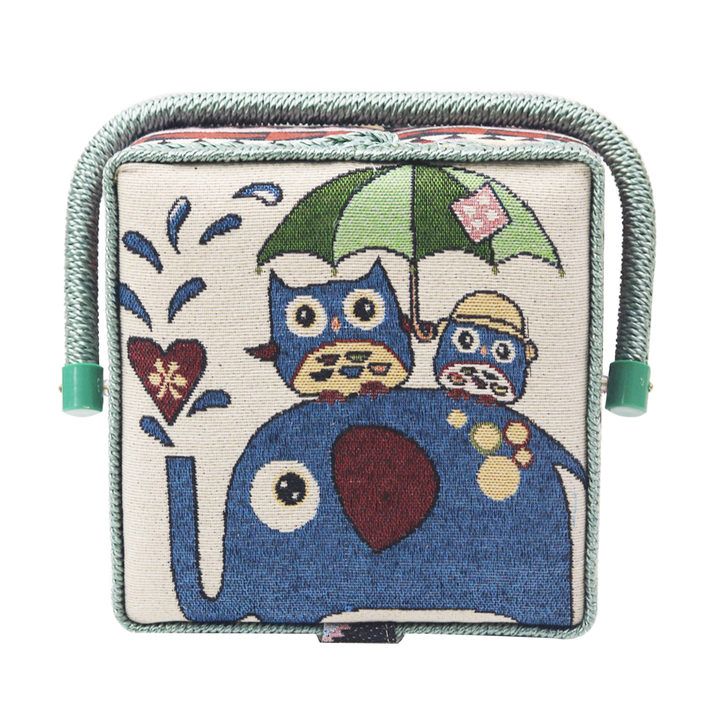 Buy-One-Get Free Sewing Tools Home Storage Box DIY Owl Pattern Cotton Fabric Crafts Multi-function Sewing Basket Organizer