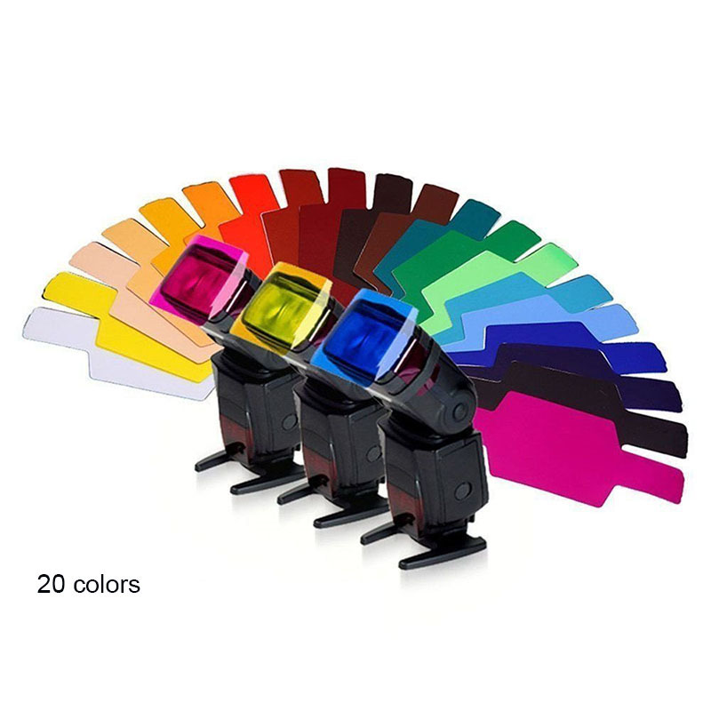20colors/pack Flash Speedlite Color Gels Filters Cards for Canon for Nikon Camera Photographic Gels Filter Flash Speedlight