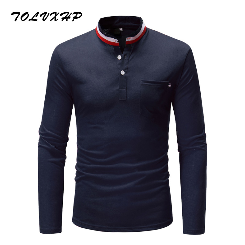 2018 Summer New Fashion Brand Clothing Tshirt Men Color-Mouth Slim Fit Long Sleeve T Shirt Men Standing collar Casual T-Shirts