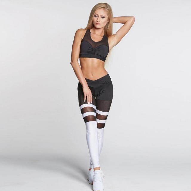 Strakke Joggingbroek Vrouwen.Strakke Mesh Netto Streep Flexibele Spoor Splice Joggingbroek Sport