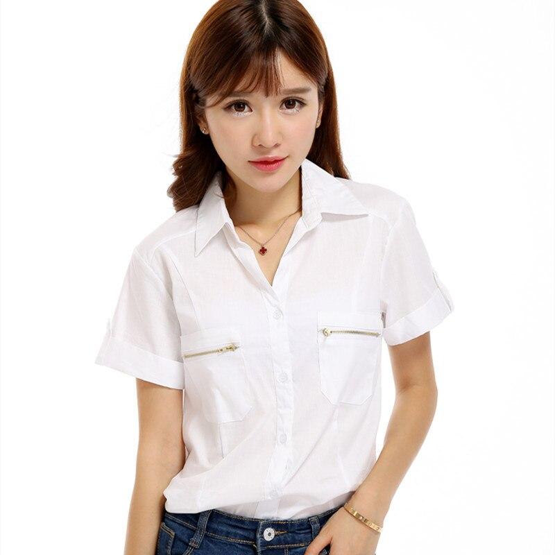 Blusa blanc Blouse femmes Blusas chemise Camisa blanc à manches courtes chemise femmes d'été Blusas Mujer de Moda 2019 Haut Femme Camisas