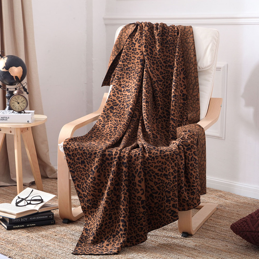 iDouillet 100% Cotton Brown Leopard Knitted Throw Blanket for Sofa Couch Chair Bedding Blankets Oversized <font><b>50</b></font>