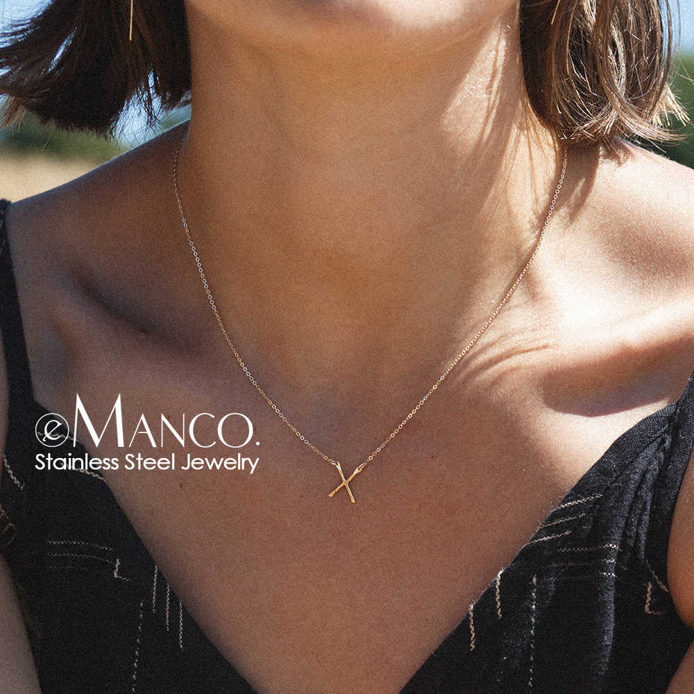 e-Manco Punk Stainless Steel Necklace Women Stylish X shape Pendant Necklace Simple Thin Necklace for women Fashion Jewelry