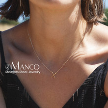 e-Manco Punk Stainless Steel Necklace Women Stylish X shape Pendant Necklace Simple Thin Necklace for women Fashion Jewelry(China)