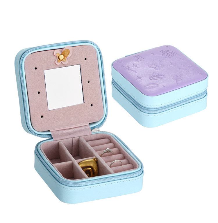 DIY Outdoor Travel Women Colorful Pocket Box Case Watch/Jewelry/key/card/accessories Organizers Collect Storage Mirror Leather