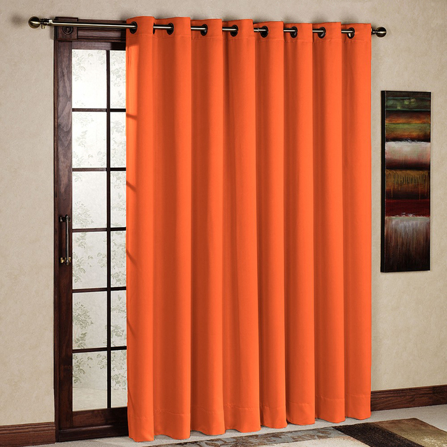 One Panel Per Pack Orange D Solid Color Blackout Thermal Insulated Cortinas Window Treatments Grommet