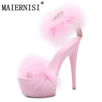 2018 women shoes 15cm thin heels feather sandals high heels women shoes plus size 34 39 color sexy pumps hairs