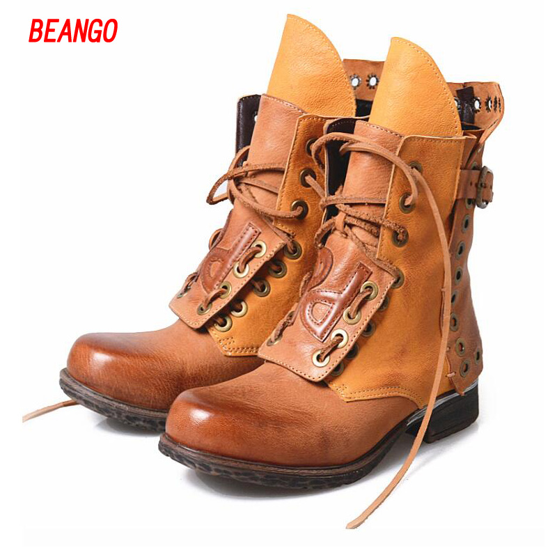 BEANGO 2017 Motorcycle Women Ankle Boots Buckle Low Heel Round toe Rivets Lace Up Thick Bottom Fetish Short Martin Short Boots beango fashion metal toe rivets women boots lace up round toe low heel motorcycle booties casual shoes woman big size 34 43eu