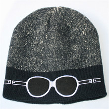 Male Winter Warm Caps Cartoon Knitting Hats Embroidered Double Color Glasses Wool Hat For Men Beanies Thick Skullies Bonnet M066