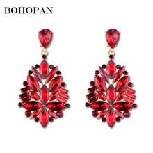 цены Bohopan Fashion Gold Color Large Drop Earrings Bride Flower Shape Crystal Earrings for Women Rhinestone Dangle Wedding Earring