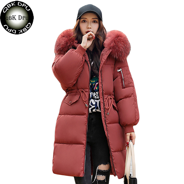 a4646e530 Women's vintage winter warm long jacket 2018 fashion large fur collar  hooded cotton padded coat femme plus size thick overcoat-in Parkas from  Women's ...