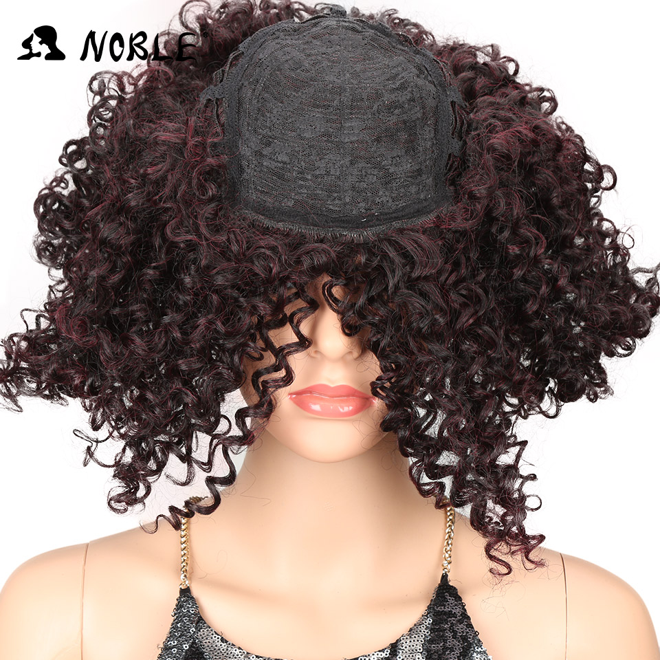 Noble Hair Short Curly Syntetisk Paryk 14 tums Ombre 99J Curly Parys - Syntetiskt hår - Foto 5
