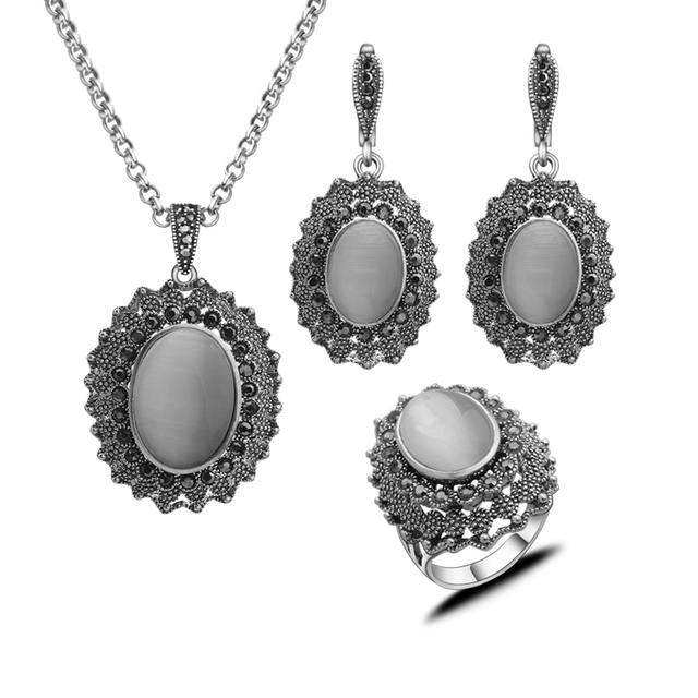 Antique Jóias de Opala Moda Turco Prata Banhado Conjuntos de Jóias Com Pedra Natural Branco Do Vintage Para Mulheres Presente Mãe