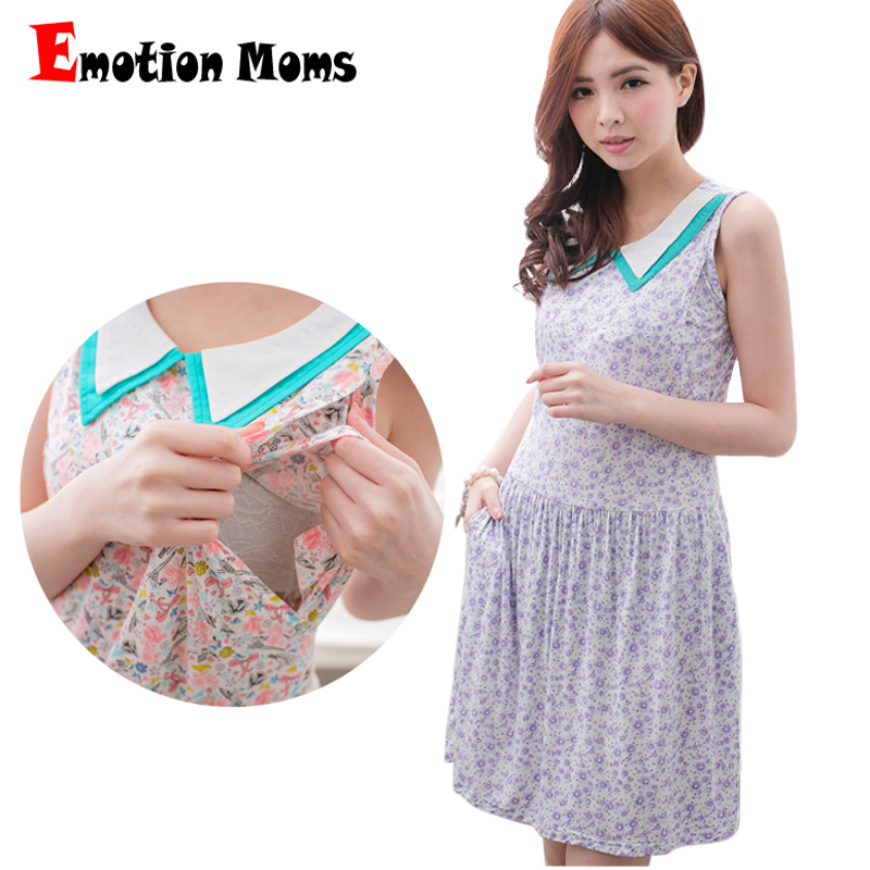 efed317ad34 Emotion Moms Short Sleeve Nursing Dresses for Pregnant Woman Clothing  Summer Maternity Dress Cotton Breastfeeding Dress