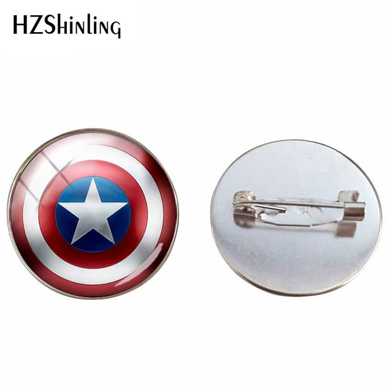 2018 Trendy Comic Movie Superheroes Captain Shield Spider Silver Cabochon Brooches Hand Craft Art Printed Photo Brooch Pins