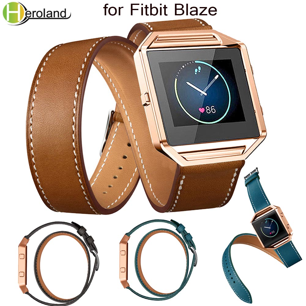 Luxury Genuine Leather Watch Band For Fitbit Blaze Wrist Strap Smart Sport watch strap 23mm accessories Double Ring Long leatherLuxury Genuine Leather Watch Band For Fitbit Blaze Wrist Strap Smart Sport watch strap 23mm accessories Double Ring Long leather