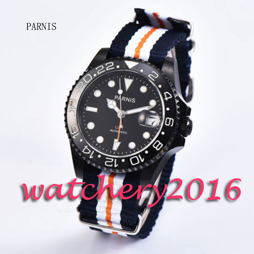 40mm Parnis black dial black ceramic bezel Luminous marks white numbers sapphire glass GMT black PVD case Automatic Men's Watch 40mm parnis black dial ceramic bezel pvd case luminous vintage sapphire automatic movement mens watch p145