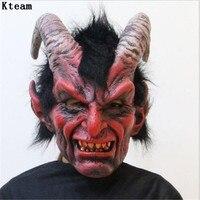 2018 Yeni Korkunç Yetişkin Kostüm Boynuz Maskesi Korku Parti Cosplay Cadılar Bayramı Lateks Korkunç Boynuzları Kırmızı Şeytan Parti Cosplay için Maske