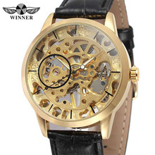 WINNER Mens Watches Hand Wind Mechanical Skeleton Top Brand Luxury Men Wrist Watch Leather Sport Military Male Clock Box 0127(China)