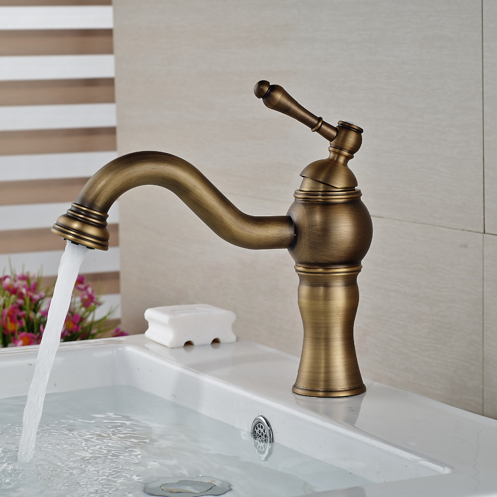 Wholesale And Retail Luxury Antique Brass Waterfall Spout Bathroom Basin Faucet Single Handle Hole Vanity Sink Mixer Tap wholesale and retail free shipping waterfall spout solid brass bathroom basin faucet single handle hole vanity sink mixer tap