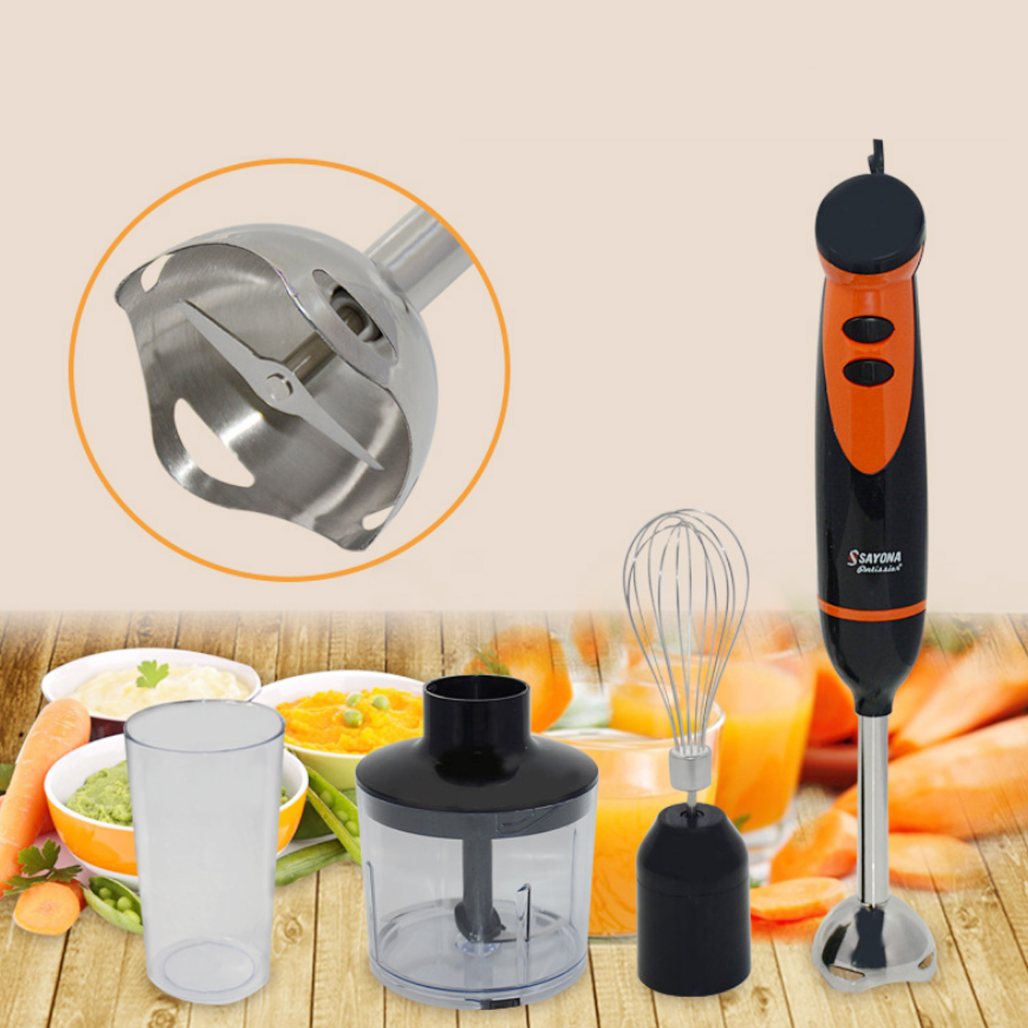 Behogar 4 in 1 Adjustable Speed Multi functional Electric Hand Blender for Kitchen Smoothies Milk Shakes Soups Baby Food EU Plug