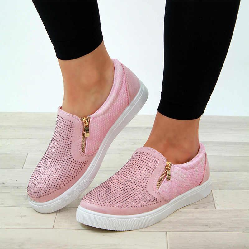 MCCKLE ฤดูใบไม้ผลิรองเท้าผู้หญิงคริสตัลแบน Loafers ซิป Embossed หนังสุภาพสตรี Glitter แฟชั่นหญิงรองเท้าแตะ