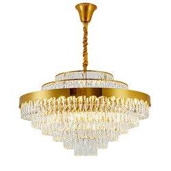 Luksusowe projekt kryształowy żyrandol oświetlenie złoty kroonluchter AC110V 220 v lustre moderne lampa do salonu