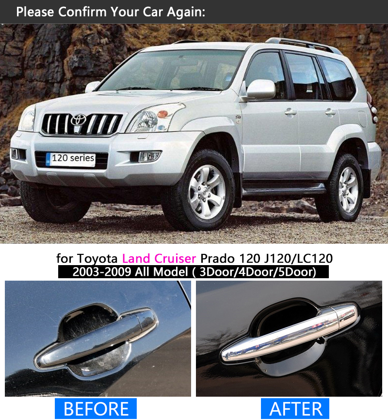 Image 4 - FUNDUOO For Toyota Land Cruiser Prado 120 J120 LC120 2003 2009 Chrome Door Handle Cover Trim Sticker Overlays-in Chromium Styling from Automobiles & Motorcycles