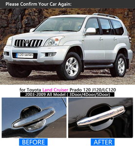 Image 4 - FUNDUOO For Toyota Land Cruiser Prado 120 J120 LC120 2003 2009 Chrome Door Handle Cover Trim Sticker Overlays