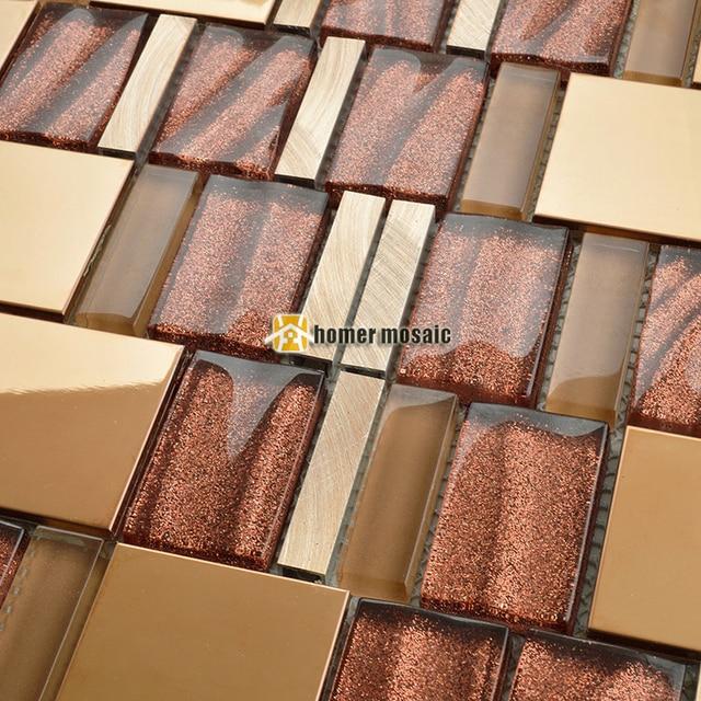 Irrugular glas mixed goldene edelstahl metall mosaik fliesen küche ...