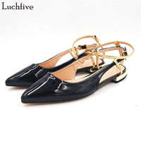 Luchfive Spring Summer Concise Patent Leather Casual Shoes Women Side Cut Out Pointed Toe Flat Heel