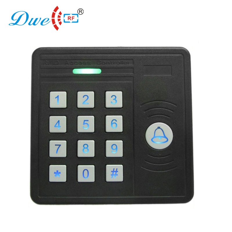 DWE CC RF access control rf id proximity card reader 125khz keypad wiegand rfid gate reader with door bell 5pcs lot free shipping outdoor 125khz em id weigand 26 proximity access control rfid card reader with two led lights