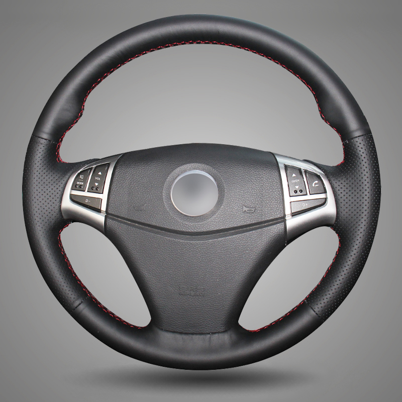 BANNIS Black Artificial Leather DIY Hand-stitched Steering Wheel Cover for Ssangyong Korando 2011-2014