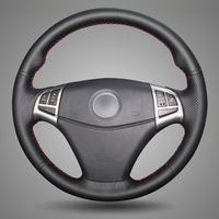 Black Artificial Leather DIY Hand Stitched Steering Wheel Cover For Ssangyong Korando 2011 2014