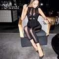 Free Shipping 2016 New Chic Sheer Mesh Patchwork Striped Women Bodysuit Bandage Jumpsuit