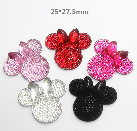100pcs Mix Colors Cute Red/Hot pink/Pink/Clear White Resin Minnie Mouse with Bowknot Flatback Cabochon,25*27.5mm