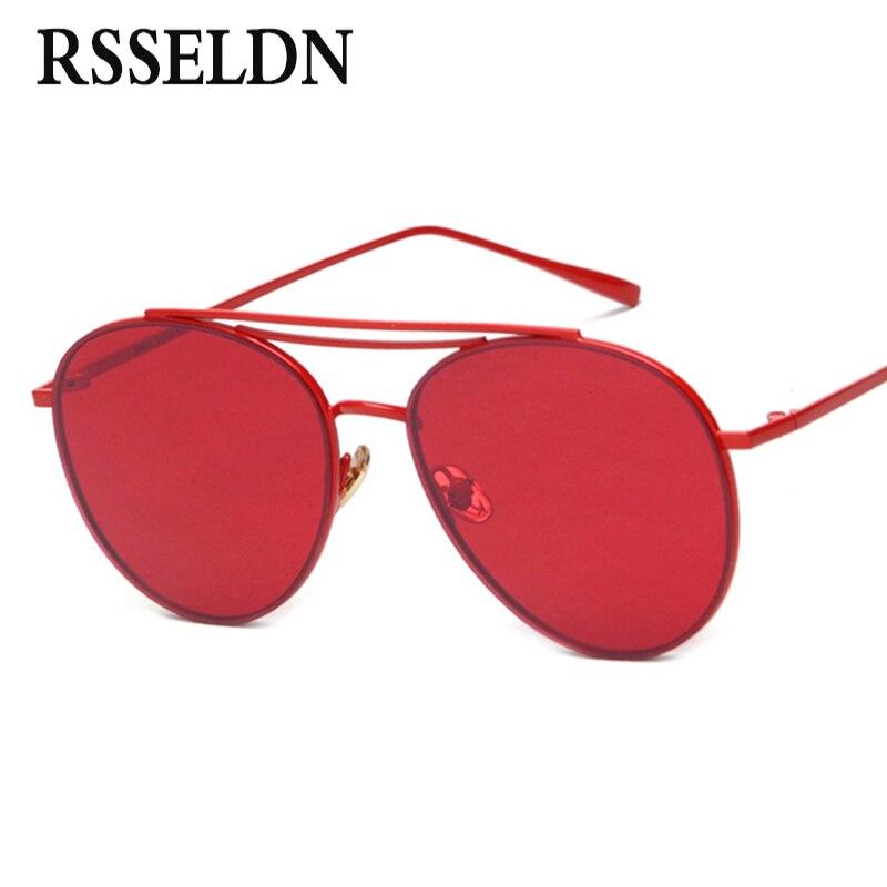 RSSELDN Haute Qualité Lentille Rouge lunettes de Soleil Femmes Marque Designer 2017 Bleu Mâle Ronde lunettes de soleil pour Femmes UV400 Métal Cadre