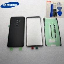 غطاء بطارية زجاجي لهاتف سامسونج جلاكسي S9 G950 S9 Plus G965 S9 + غلاف باب الغطاء الخلفي + قطع غيار إصلاح الزجاج الأمامي LCD