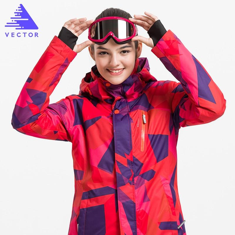 VECTOR Professional Women Windproof Waterproof Ski Jacket Coats Winter Warm Outdoor Sport Snow Skiing Snowboarding Clothing men and women winter ski snowboarding climbing hiking trekking windproof waterproof warm hooded jacket coat outwear s m l xl