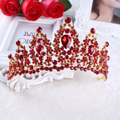 Vintage Prom Pageant Wedding Red Tiaras And Crowns 2017 Headband Hairband Bridal Rhinestone Pageant Tiaras Crowns Hair Jewelry Pakistan