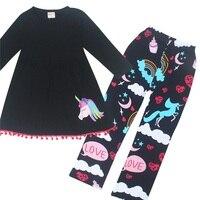 Horse Children Clothes 2018 Spring Autumn Girls Long Sleeve Dress Pant Kids Tracksuit Set Sport Suits