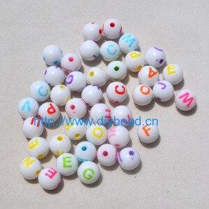 Плоские бусины в форме сердца 7 мм, разноцветные акриловые бусины с буквами для самостоятельного изготовления бижутерии, браслетов, рукодел...