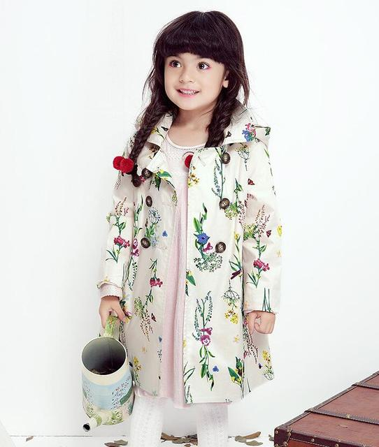 2016 New Children's Girls Rural flower printing hooded windbreaker princess Double-breasted trench coat Wholesale