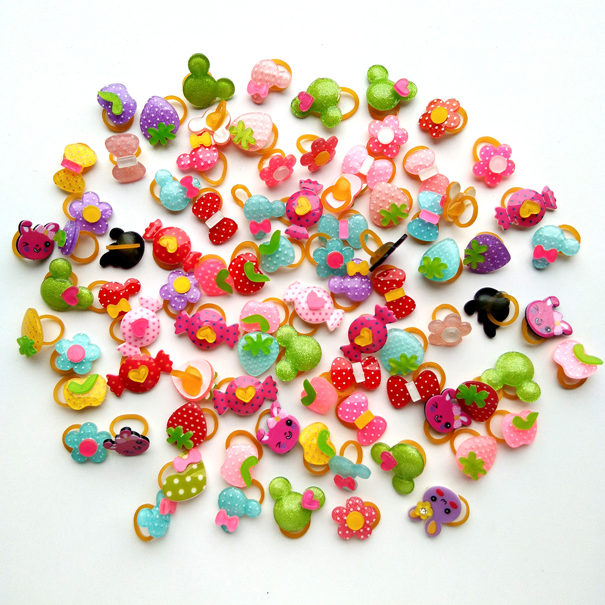 100pcs Pet Hair Bows Summer Fruit Style Dog Hair Accessories Rubber Bands Watermelon Pineapple Dog Accessories