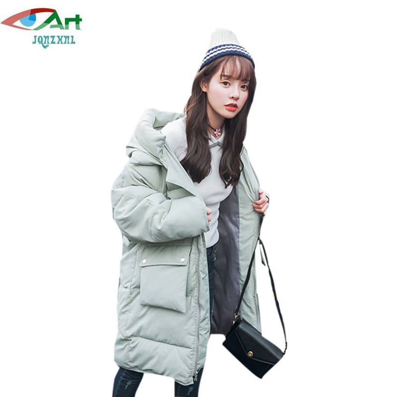 JQNZHNL Women Warm Parkas 2017 New Winter Thicken Down Cotton Coats Outwear Female Solid Color Casual Hooded Cotton Jackets E398