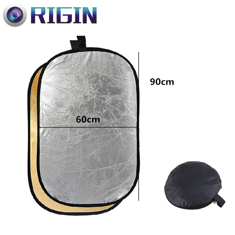 60*90CM/23x35 Studio Flash Accessories 2in1 Gold & Silver Reflector Dish Board Plate Oval For photography