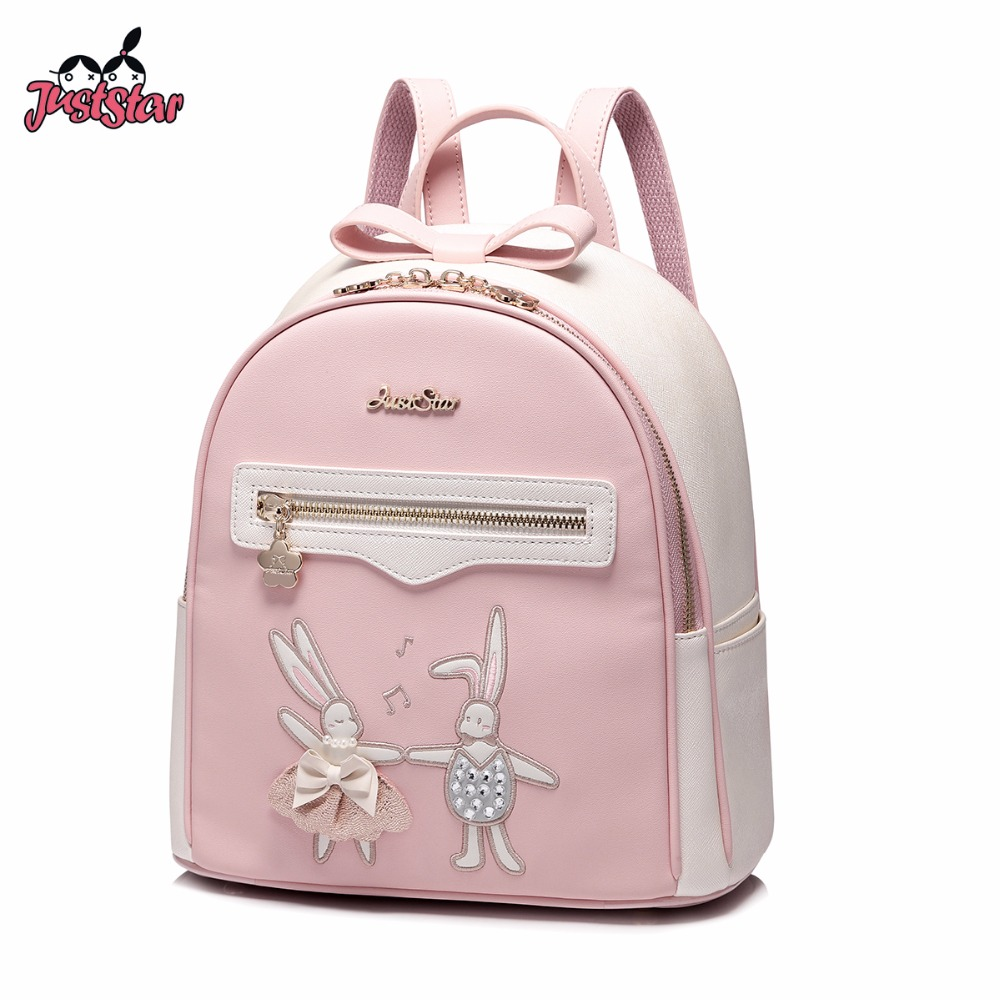 JUST STAR Women s Backpack Female Cartoon PU Leather Embroidery Cartoon Rabbit Double Shoulder Bags Ladies